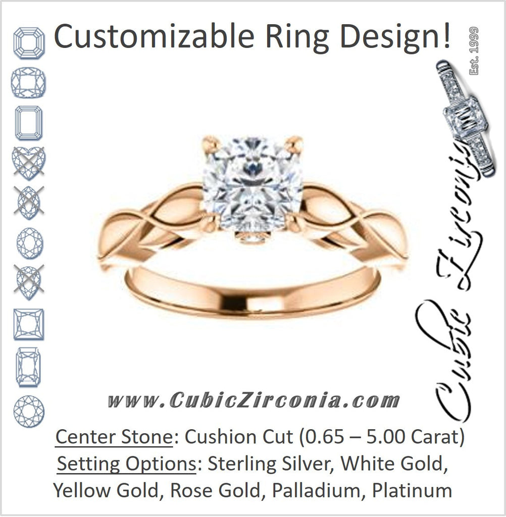 Cubic Zirconia Engagement Ring- The Jime (Customizable Cathedral-Raised Cushion Cut with Thick Infinity-Scalloped Band & Peekaboo Accents)