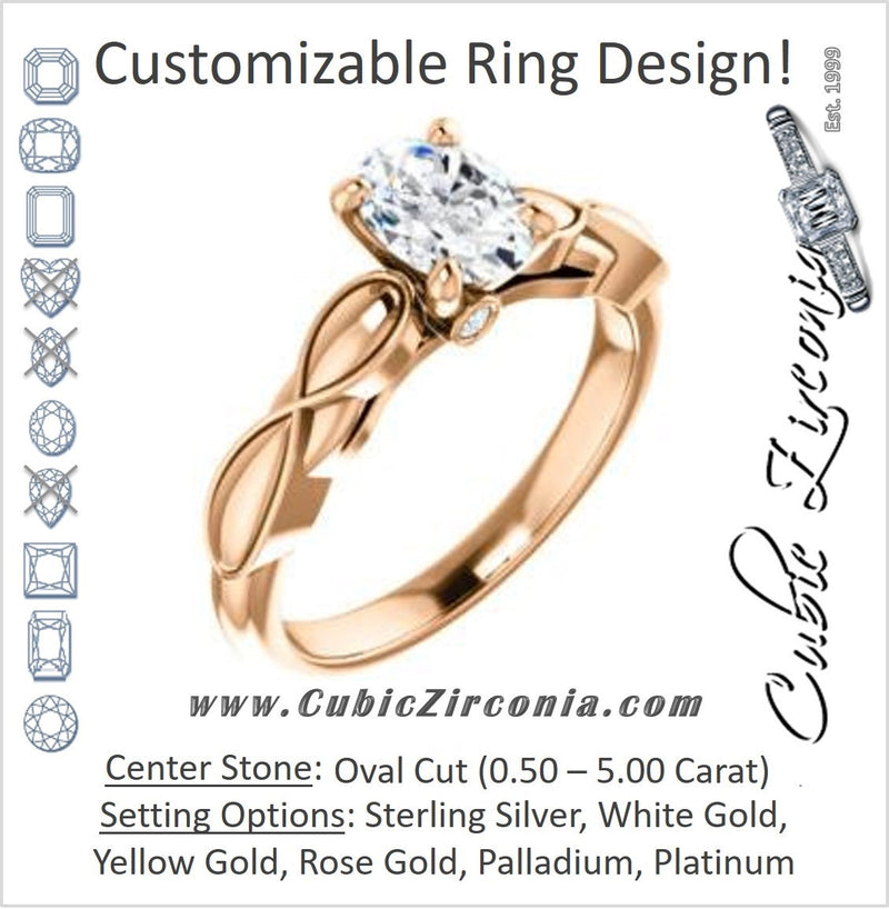 Cubic Zirconia Engagement Ring- The Jime (Customizable Cathedral-Raised Oval Cut with Thick Infinity-Scalloped Band & Peekaboo Accents)
