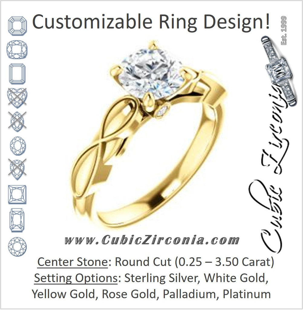 Cubic Zirconia Engagement Ring- The Jime (Customizable Cathedral-Raised Round Cut with Thick Infinity-Scalloped Band & Peekaboo Accents)