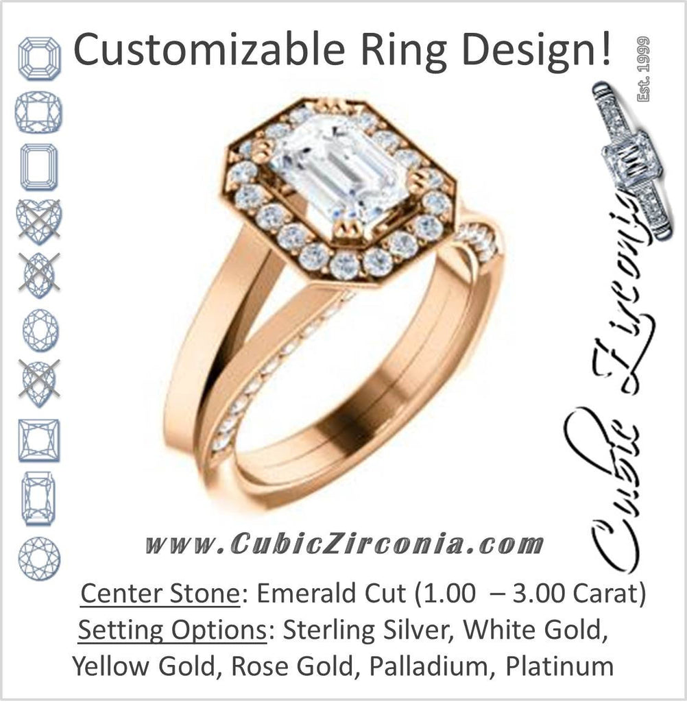 Cubic Zirconia Engagement Ring- The Jocelyn (Customizable Halo-Enhanced Emerald Cut featuring 3-side Accented Split-Band)
