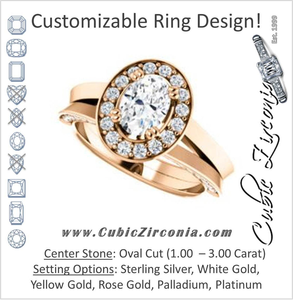 Cubic Zirconia Engagement Ring- The Jocelyn (Customizable Halo-Enhanced Oval Cut featuring 3-side Accented Split-Band)