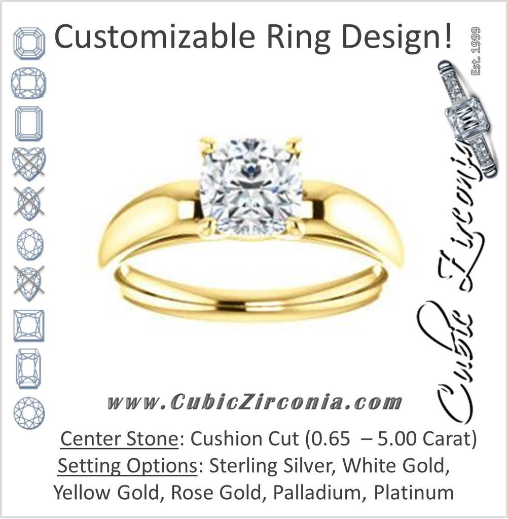 Cubic Zirconia Engagement Ring- The Johnnie (Customizable Cathedral-set Cushion Cut Solitaire with Decorative Prong Basket)