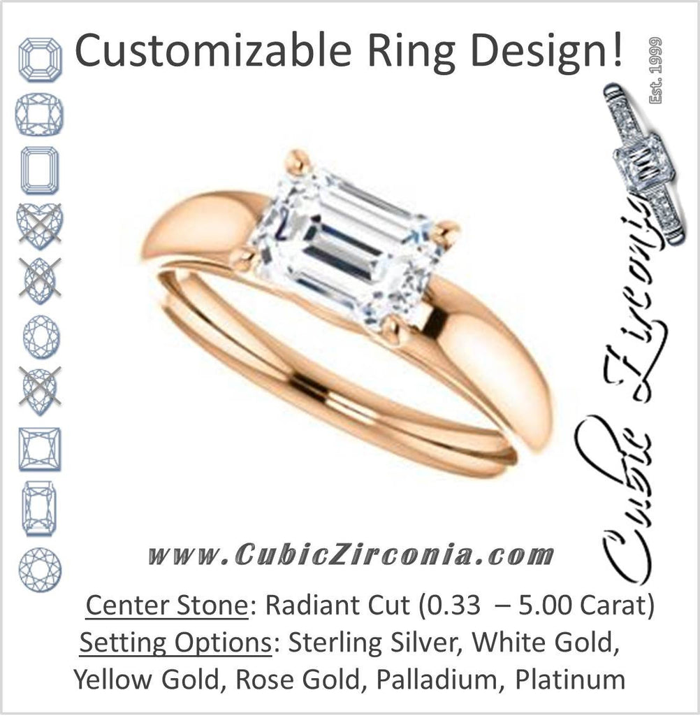 Cubic Zirconia Engagement Ring- The Johnnie (Customizable Cathedral-set Radiant Cut Solitaire with Decorative Prong Basket)