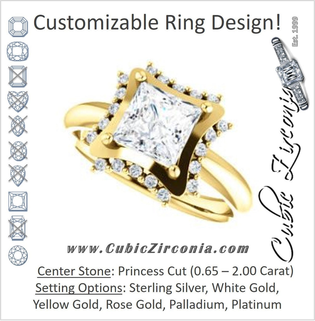 Cubic Zirconia Engagement Ring- The Jolene (Customizable Princess Cut with Floral-inspired Clustered Accent Under-halo)