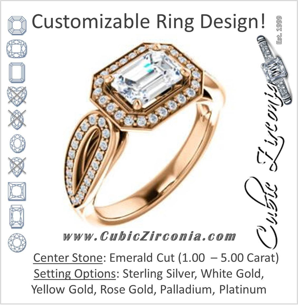 Cubic Zirconia Engagement Ring- The Jordyn Elitza (Customizable Halo-Style Emerald Cut with Twisting Pavé Split-Shank)