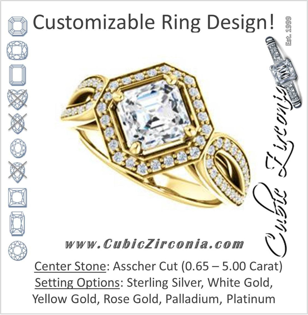 Cubic Zirconia Engagement Ring- The Jordyn Elitza (Customizable Halo-Style Asscher Cut with Twisting Pavé Split-Shank)