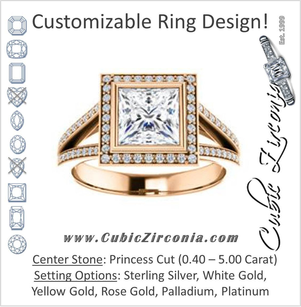 Cubic Zirconia Engagement Ring- The Josefina (Customizable Halo-Style Princess Cut with Wide Split-Band Pavé)