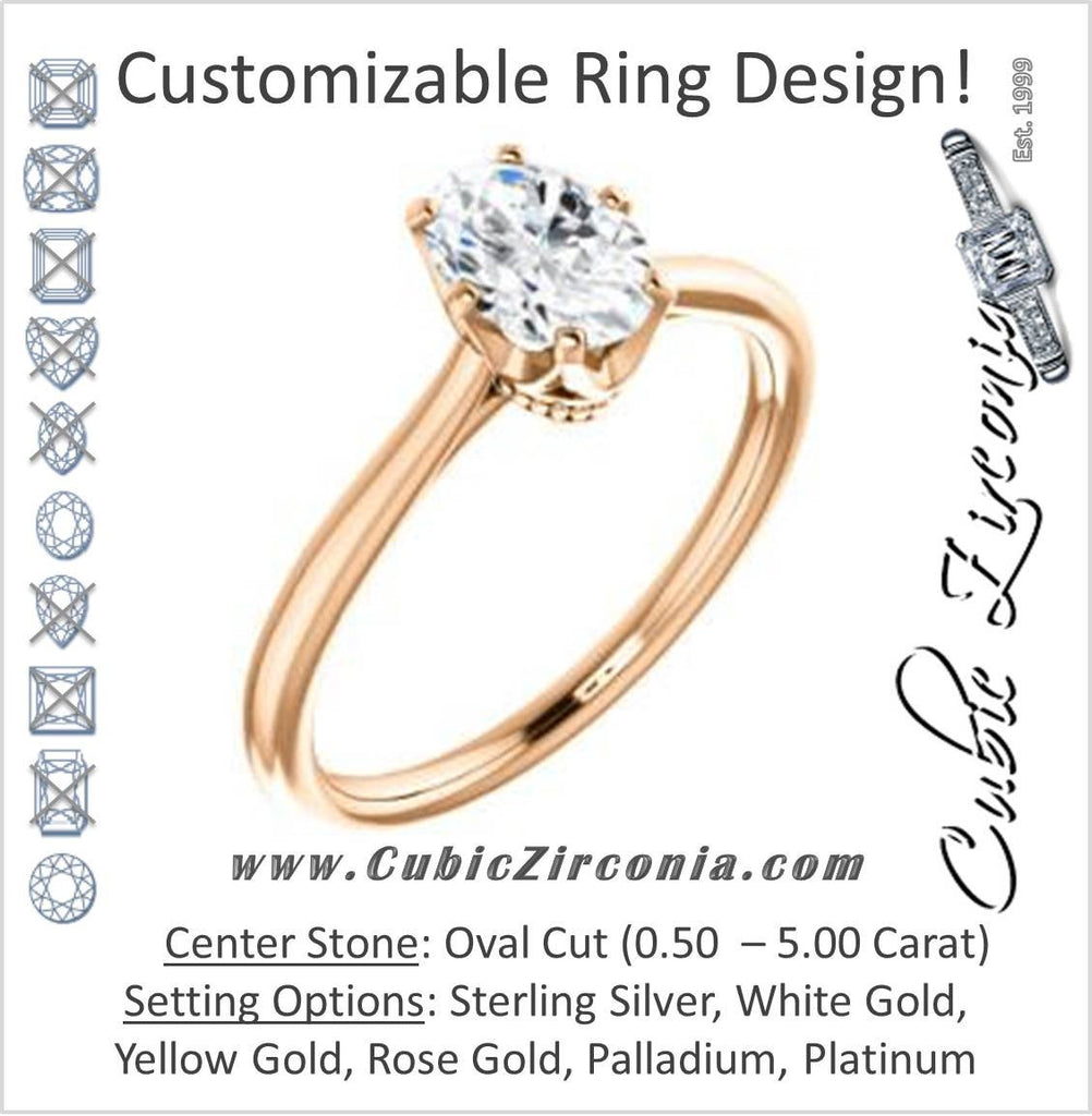 Cubic Zirconia Engagement Ring- The Julia (Customizable Thin-Band Oval Cut Solitaire)