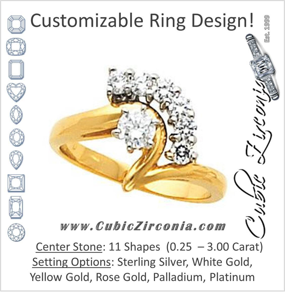 Cubic Zirconia Engagement Ring- The Julianne (7-stone with Z-Band Design)