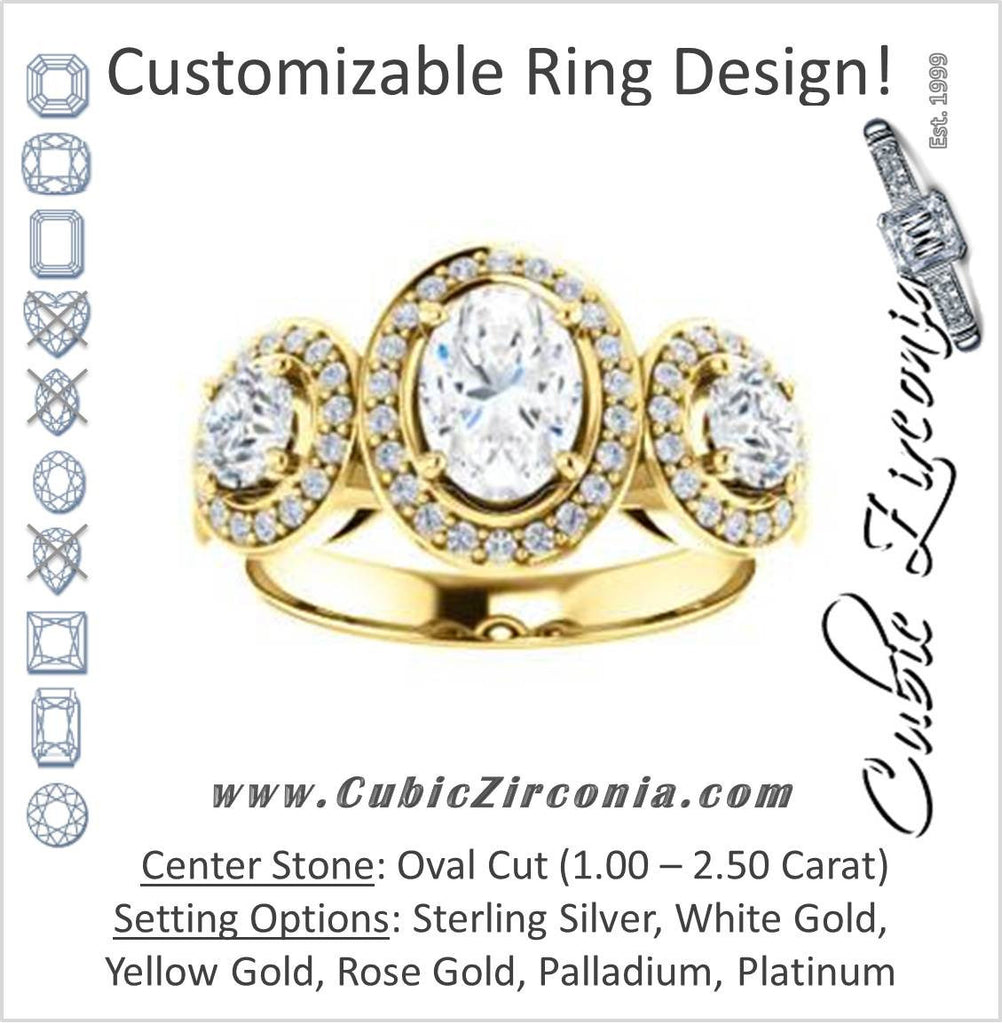 Cubic Zirconia Engagement Ring- The Justine (Customizable Oval Cut Center 3-Stone Halo-Style)