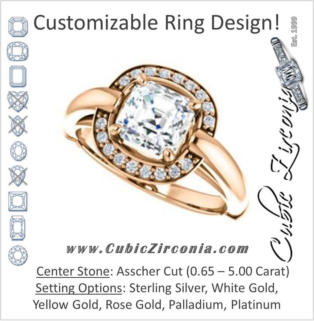 Cubic Zirconia Engagement Ring- The Kady (Customizable Cathedral-set Asscher Cut with Semi-Halo)