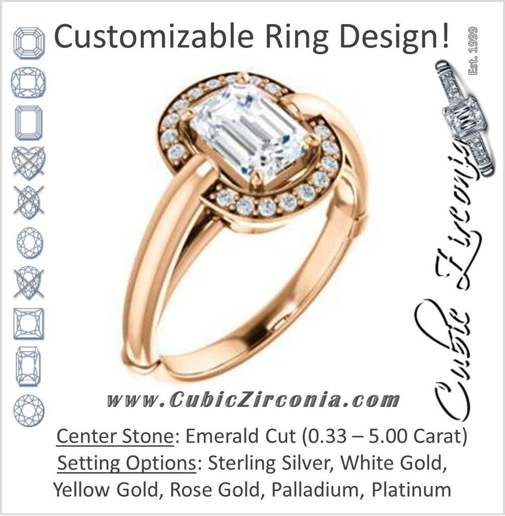 Cubic Zirconia Engagement Ring- The Kady (Customizable Cathedral-set Emerald Cut with Semi-Halo)