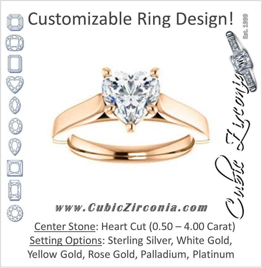 Cubic Zirconia Engagement Ring- The Kaela (Customizable Heart Cut Solitaire with Stackable Band)