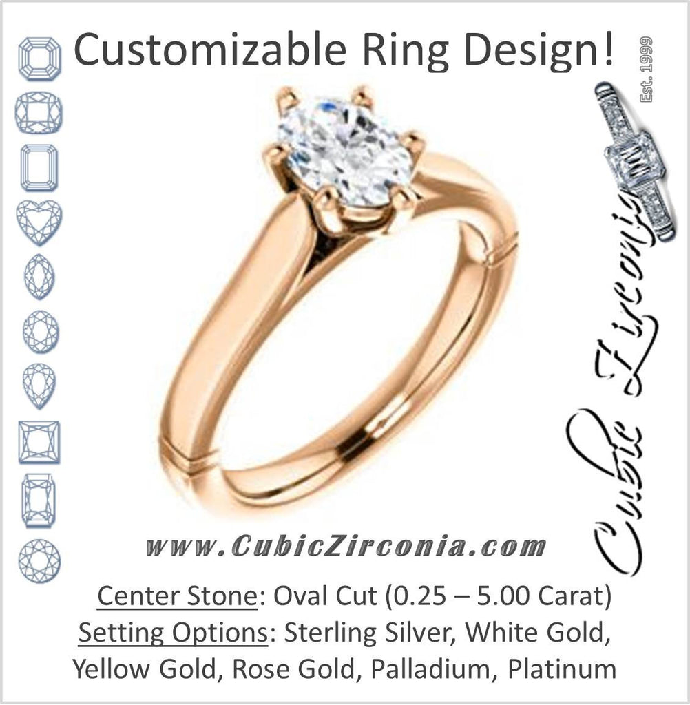 Cubic Zirconia Engagement Ring- The Kaela (Customizable Oval Cut Solitaire with Stackable Band)