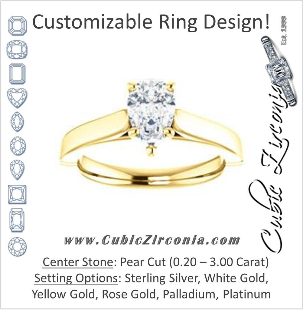Cubic Zirconia Engagement Ring- The Kaela (Customizable Pear Cut Solitaire with Stackable Band)