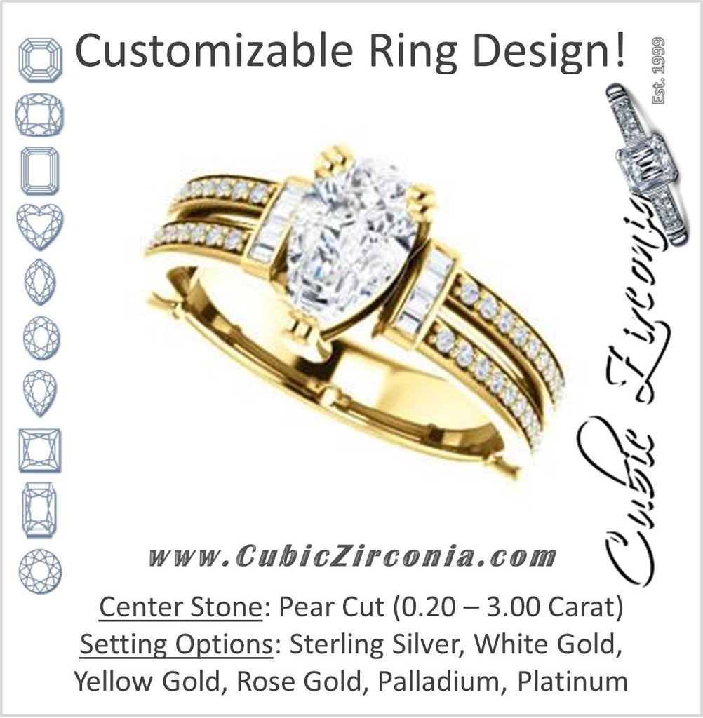 Cubic Zirconia Engagement Ring- The Kaitlyn (Customizable Pear Cut with Flanking Baguettes And Round Channel Accents)