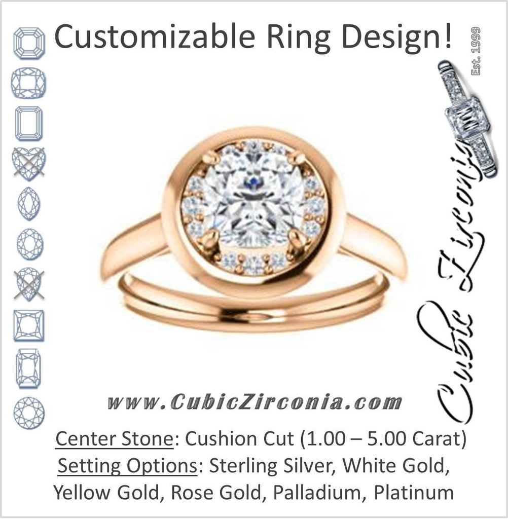 Cubic Zirconia Engagement Ring- The Kajal (Cushion Cut Tapered Faux Bezel Halo)