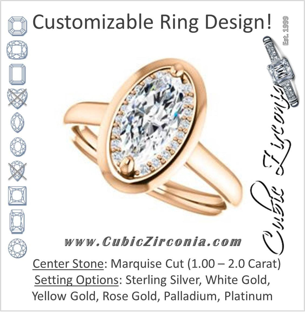 Cubic Zirconia Engagement Ring- The Kajal (Marquise Cut Tapered Faux Bezel Halo)