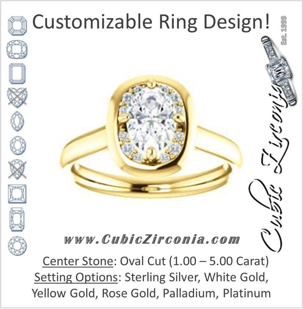 Cubic Zirconia Engagement Ring- The Kajal (Oval Cut Tapered Faux Bezel Halo)