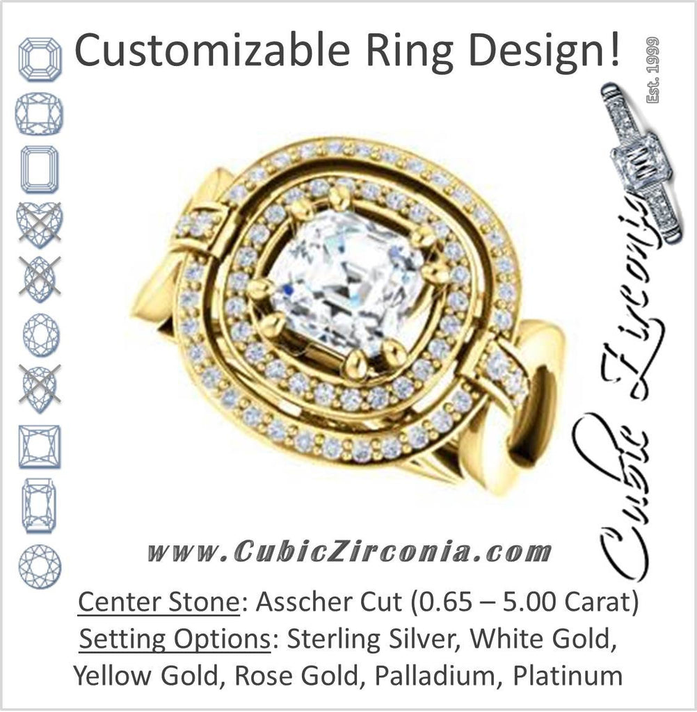 Cubic Zirconia Engagement Ring- The Kandie Lue (Customizable Cathedral-set Asscher Cut with 2x Halo and Prong Accents)