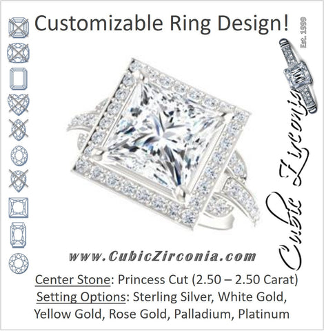 Cubic Zirconia Engagement Ring- The Karli Grace (Customizable Princess Cut Design with Halo and Interlocking Links Accented Split Band)