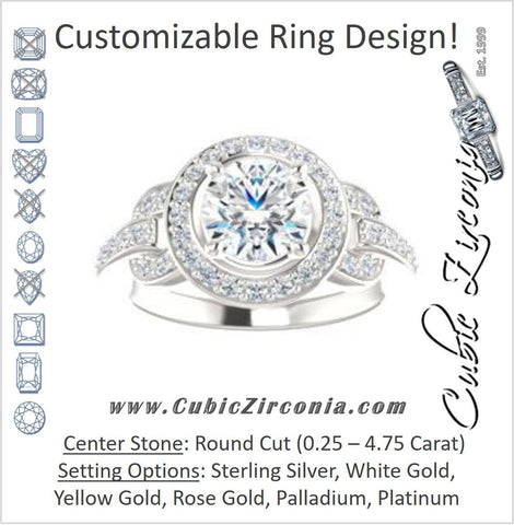 Cubic Zirconia Engagement Ring- The Karli Grace (Customizable Round Cut Design with Halo and Interlocking Links Accented Split Band)