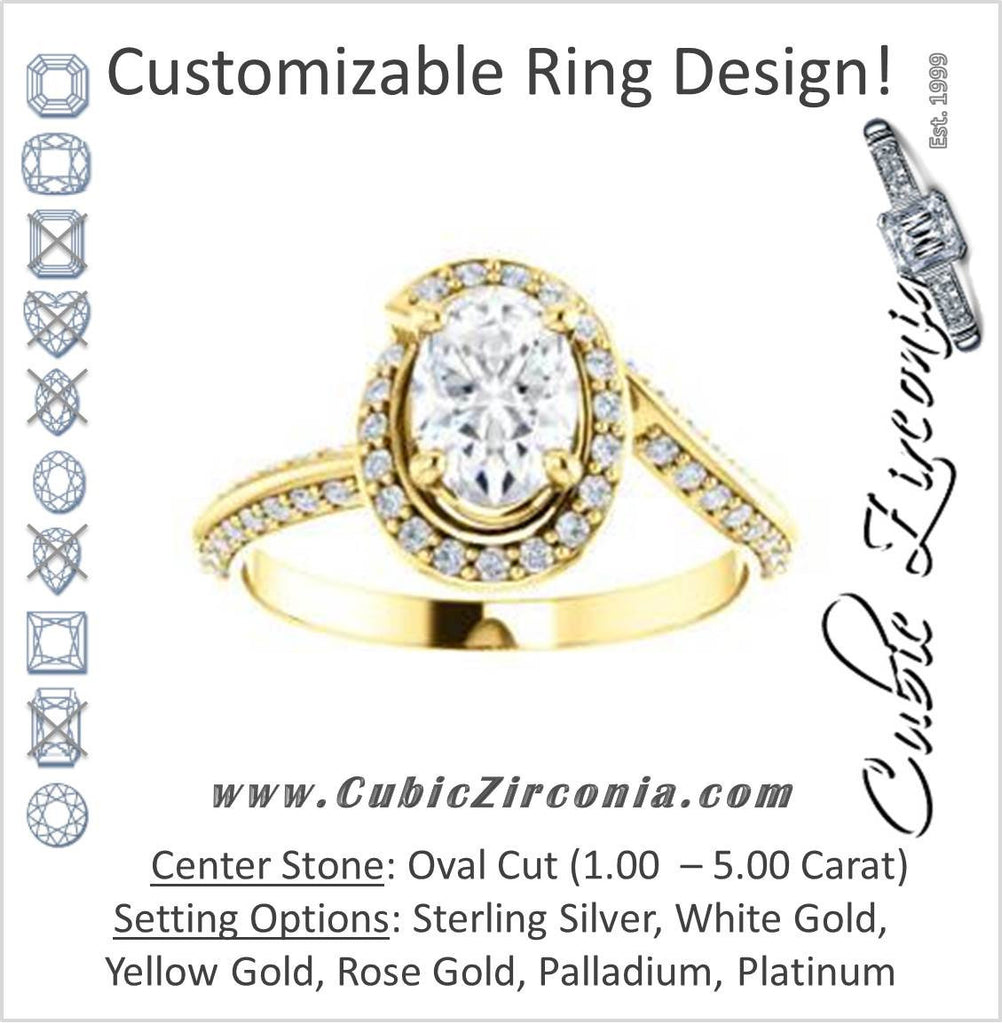 Cubic Zirconia Engagement Ring- The Karly (Customizable Oval Cut Design with Bypass Halo and 3-sided Artisan Pavé Band)