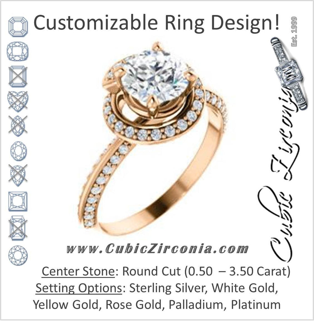 Cubic Zirconia Engagement Ring- The Karly (Customizable Round Cut Design with Bypass Halo and 3-sided Artisan Pavé Band)
