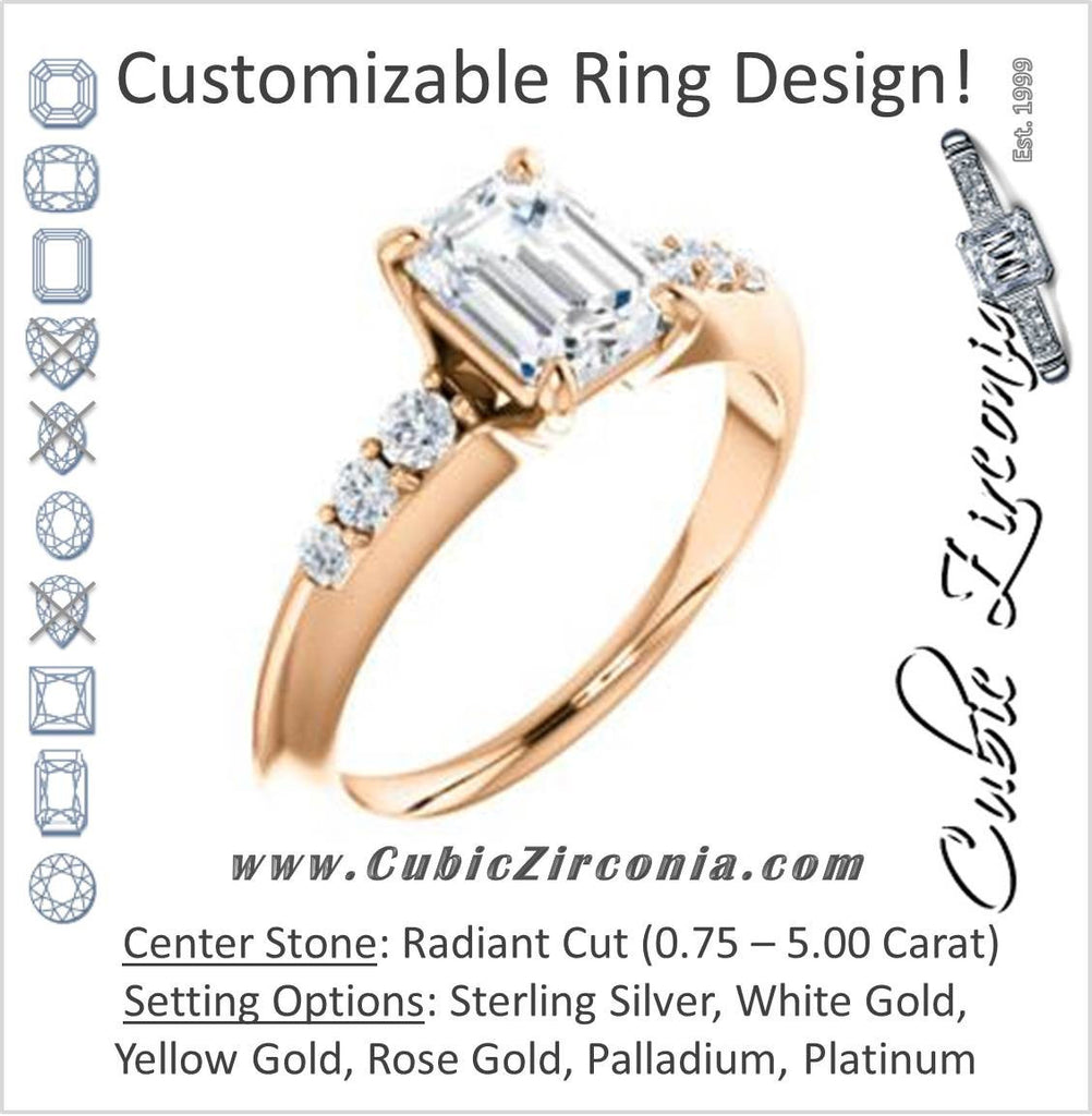 Cubic Zirconia Engagement Ring- The Karyn (Customizable 7-stone Radiant Cut style with Tapered Band & Round Prong-set Accents)