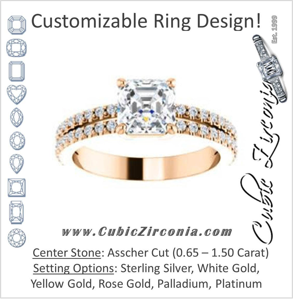 Cubic Zirconia Engagement Ring- The Kathryn (Customizable Asscher with Split Band & Round Pave Accents)