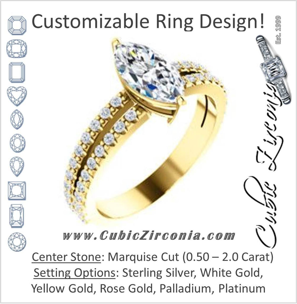 Cubic Zirconia Engagement Ring- The Kathryn  (Customizable Marquise with Split Band & Round Pave Accents)