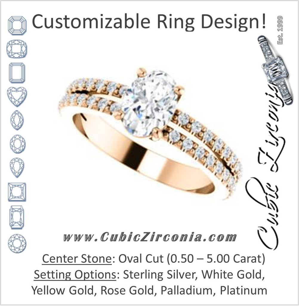 Cubic Zirconia Engagement Ring- The Kathryn  (Customizable Oval with Split Band & Round Pave Accents)