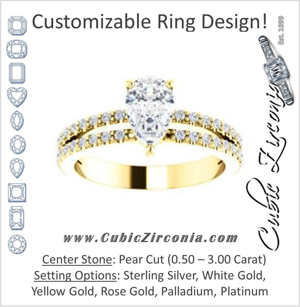 Cubic Zirconia Engagement Ring- The Kathryn  (Customizable Pear with Split Band & Round Pave Accents)