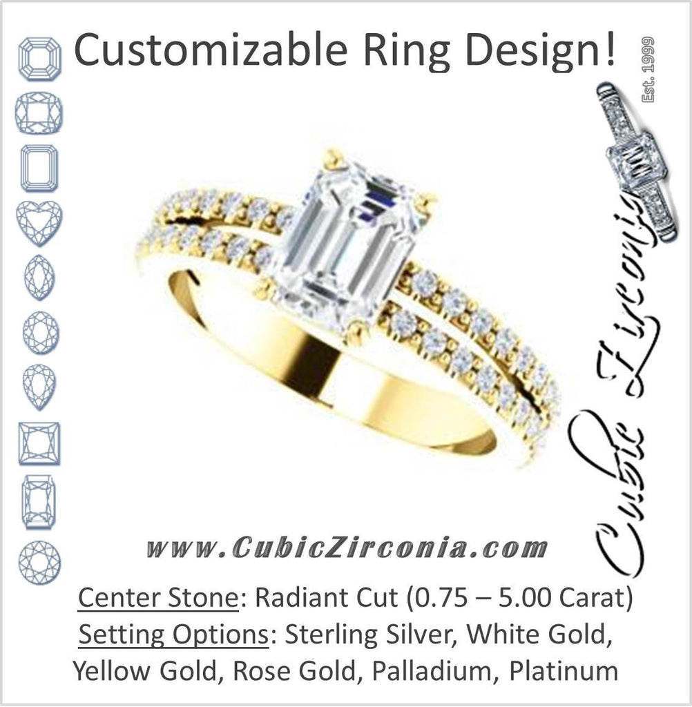 Cubic Zirconia Engagement Ring- The Kathryn  (Customizable Radiant with Split Band & Round Pave Accents)