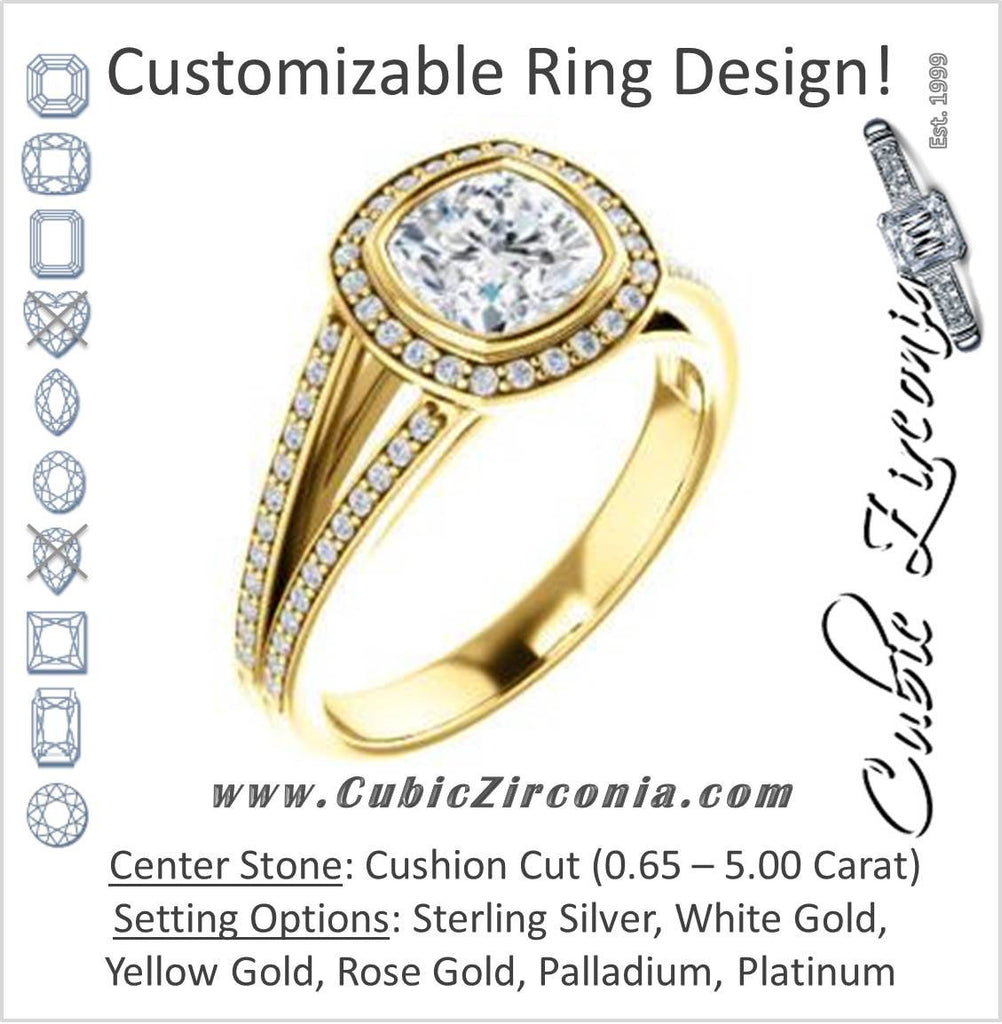 Cubic Zirconia Engagement Ring- The Kay Adaira (Customizable Bezel-set Cushion Cut with Halo and Split-Pavé Band)