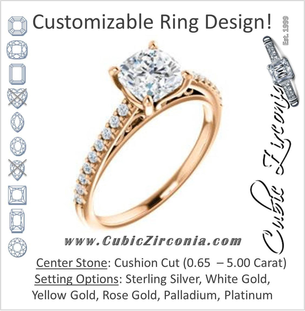 Cubic Zirconia Engagement Ring- The Kiana (Customizable Cushion Cut Design with Decorative Cathedral Trellis and Thin Pavé Band)