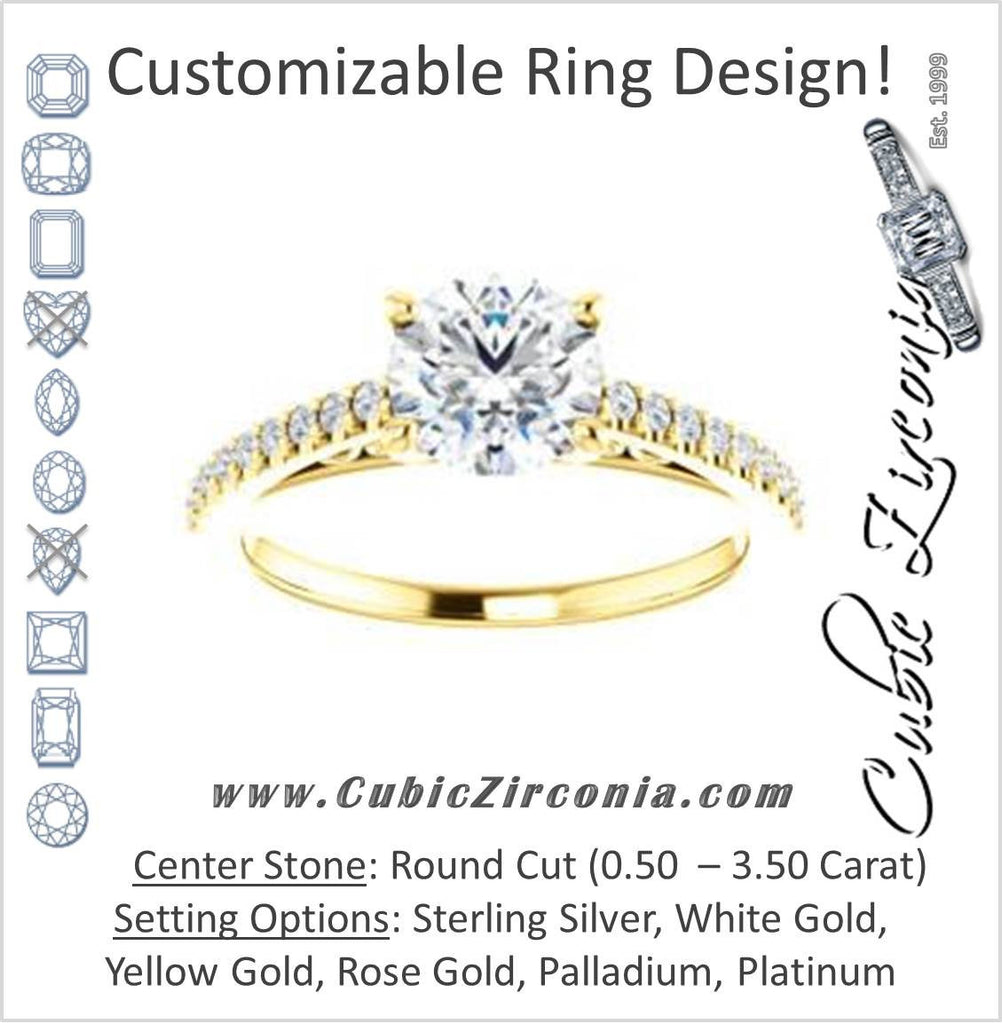 Cubic Zirconia Engagement Ring- The Kiana (Customizable Round Cut Design with Decorative Cathedral Trellis and Thin Pavé Band)