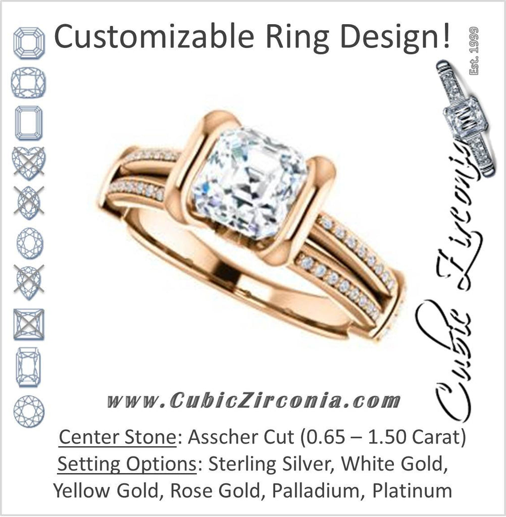 Cubic Zirconia Engagement Ring- The Kinsley (Customizable Asscher Cut with Split Pavé Band & Peekaboo Accents)