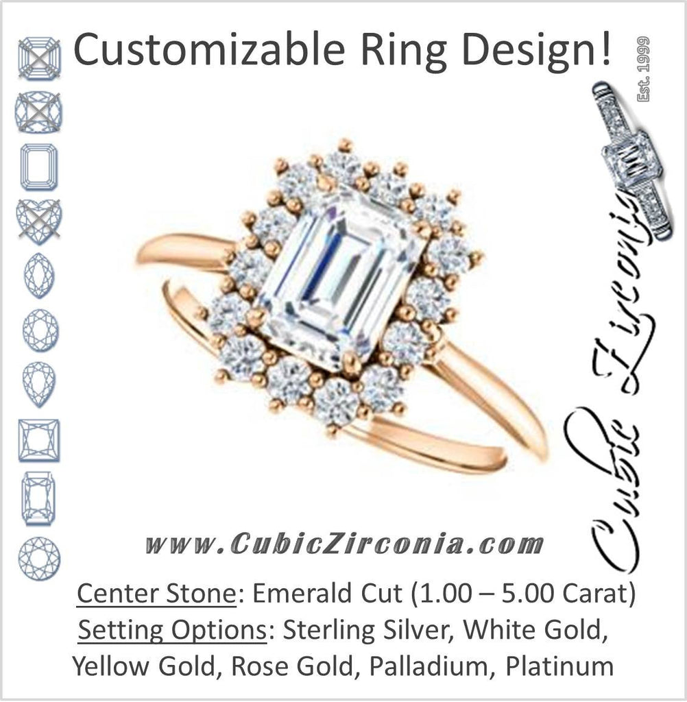 Cubic Zirconia Engagement Ring- The Kirsten (Customizable Emerald Cut with Large Cluster-Accent Crown-Supported Halo)