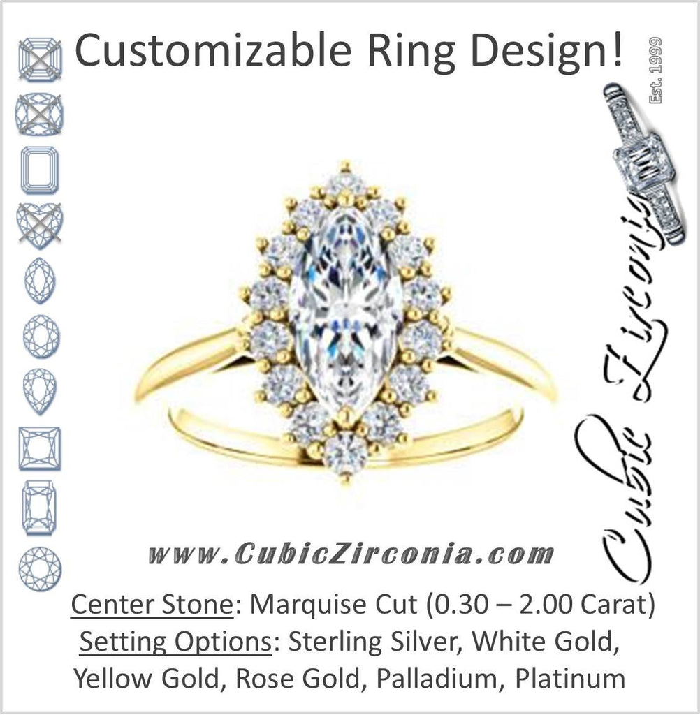 Cubic Zirconia Engagement Ring- The Kirsten (Customizable Marquise Cut with Large Cluster-Accent Crown-Supported Halo)
