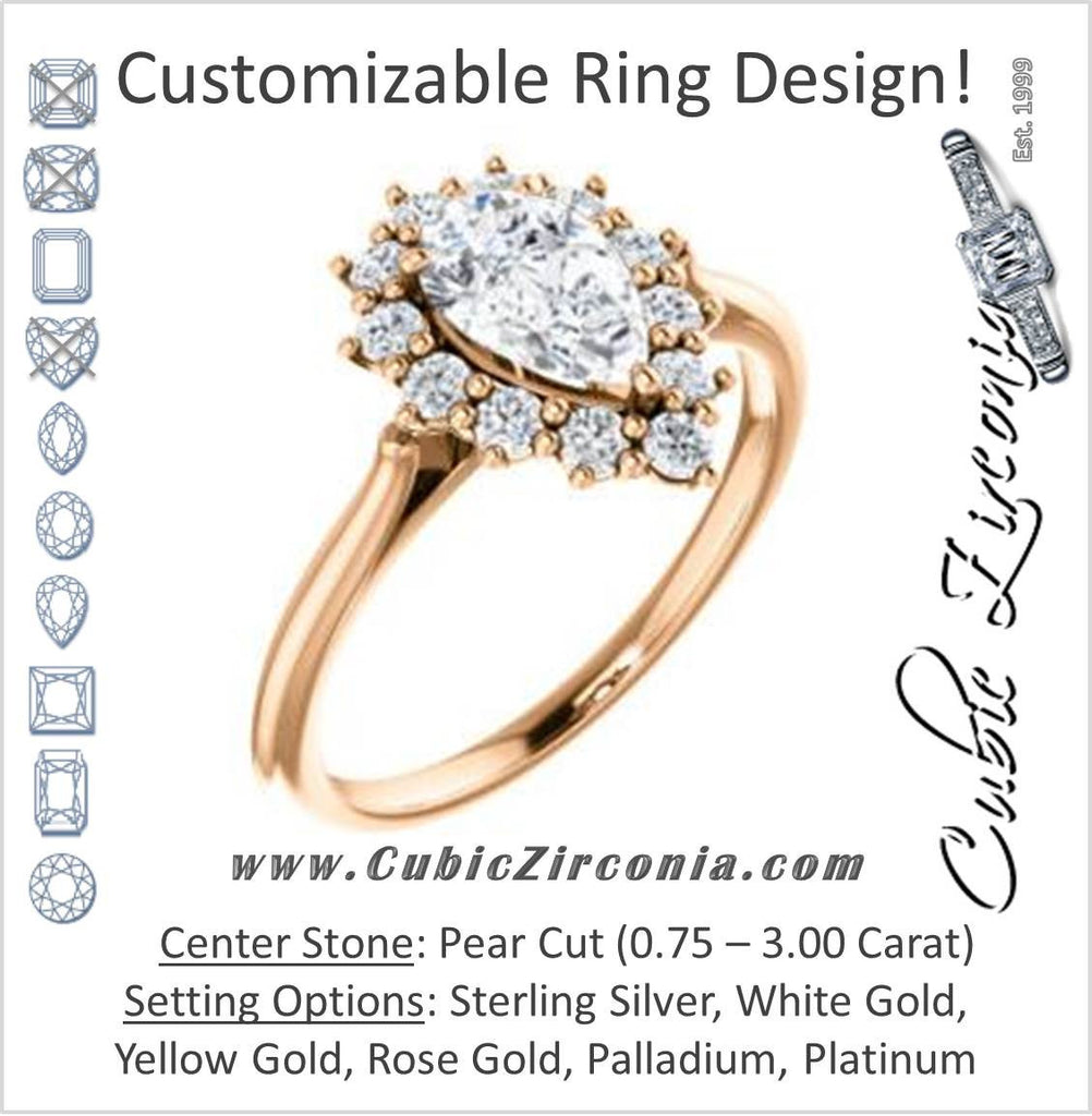 Cubic Zirconia Engagement Ring- The Kirsten (Customizable Pear Cut with Large Cluster-Accent Crown-Supported Halo)