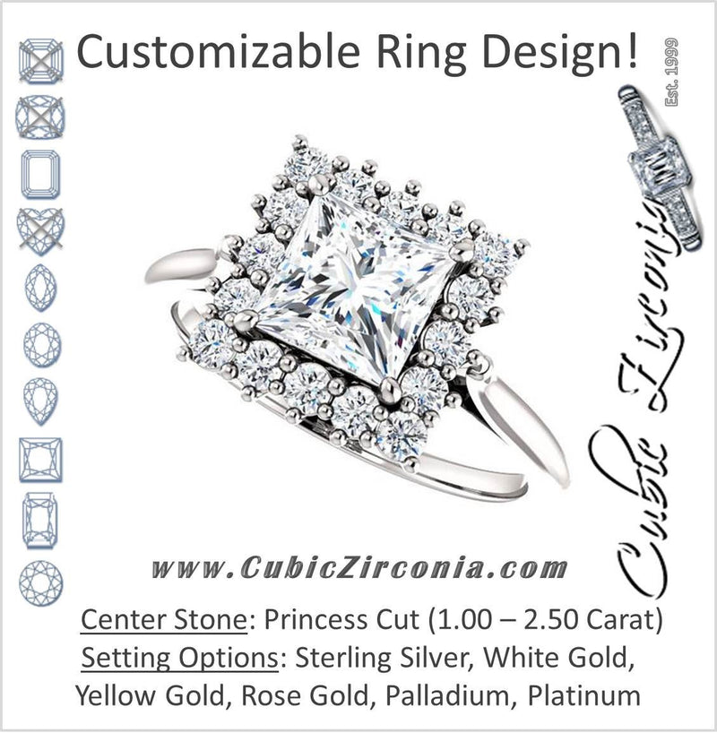 Cubic Zirconia Engagement Ring- The Kirsten (Customizable Princess Cut with Large Cluster-Accent Crown-Supported Halo)