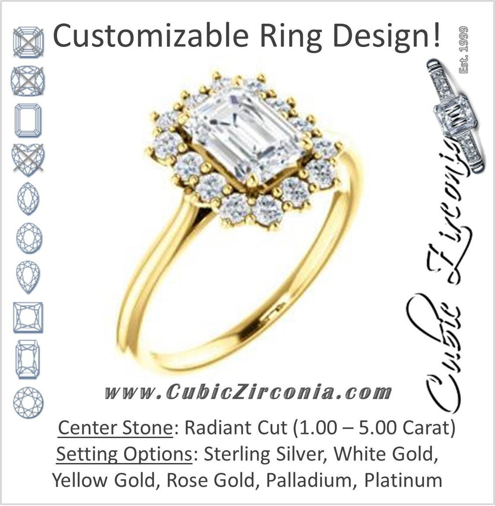 Cubic Zirconia Engagement Ring- The Kirsten (Customizable Radiant Cut with Large Cluster-Accent Crown-Supported Halo)