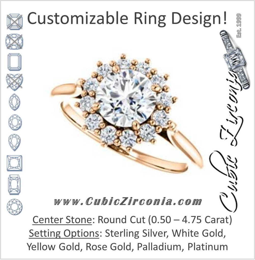 Cubic Zirconia Engagement Ring- The Kirsten (Customizable Round Cut with Large Cluster-Accent Crown-Supported Halo)