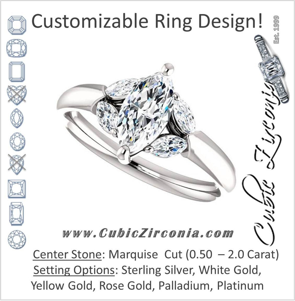 Cubic Zirconia Engagement Ring- The Leeanne (Customizable 5-stone Design with Marquise Cut Center and Marquise Accents)