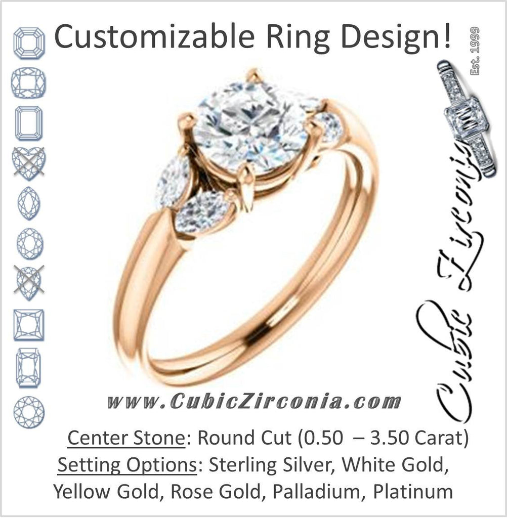 Cubic Zirconia Engagement Ring- The Leeanne (Customizable 5-stone Design with  Round Cut Center and Marquise Accents)
