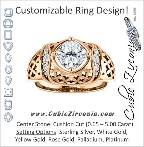 Cubic Zirconia Engagement Ring- The Leilani (Customizable Cushion Cut Vintage Crown Setting with Oversized Crosshatch Band)
