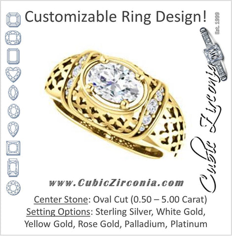 Cubic Zirconia Engagement Ring- The Leilani (Customizable Oval Cut Vintage Crown Setting with Oversized Crosshatch Band)