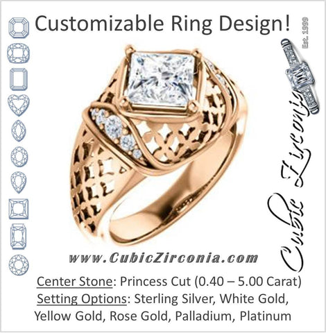 Cubic Zirconia Engagement Ring- The Leilani (Customizable Princess Cut Vintage Crown Setting with Oversized Crosshatch Band)