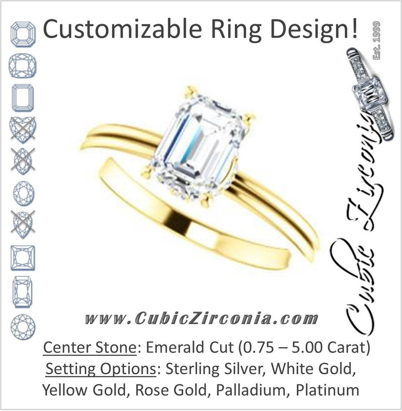 Cubic Zirconia Engagement Ring- The Leslie (Customizable Emerald Cut Setting with Under-Halo Trellis)